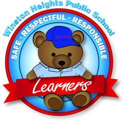 Winston Heights Public School Winston Bear logo Being safe, respectful, responsible learners